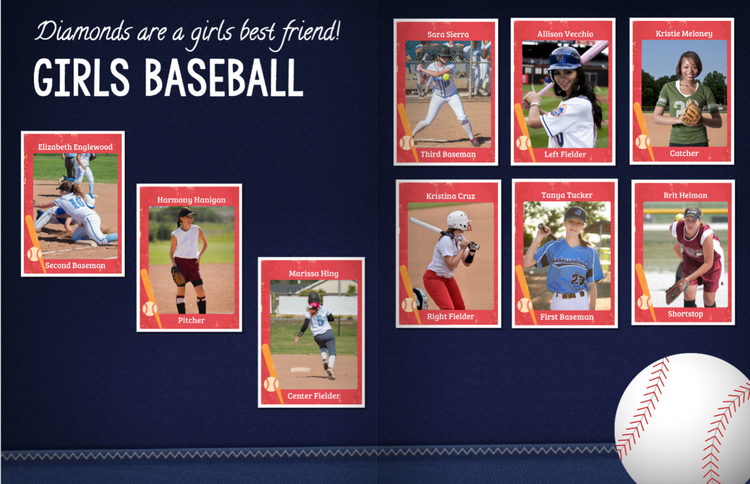 Girls Baseball Yearbook Spread